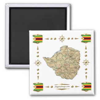 Mapa de Zimbabwe + Imán de las banderas