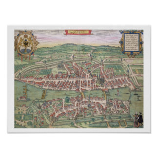 "Mapa de Zurich, de ""Civitates Orbis Terrarum"" cerc Posters"