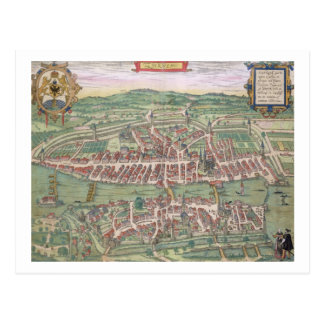 "Mapa de Zurich, de ""Civitates Orbis Terrarum"" cerc Tarjeta Postal"
