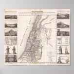 Mapa decorativo del Dr. Schincke 1840 de Palestina Poster