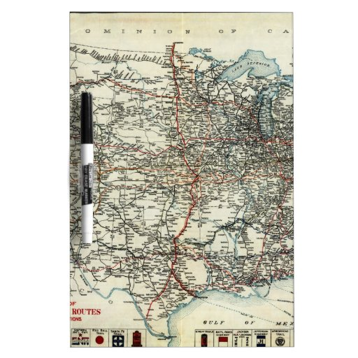 Mapa del AAA de las rutas transcontinentales (1918 Tablero Blanco