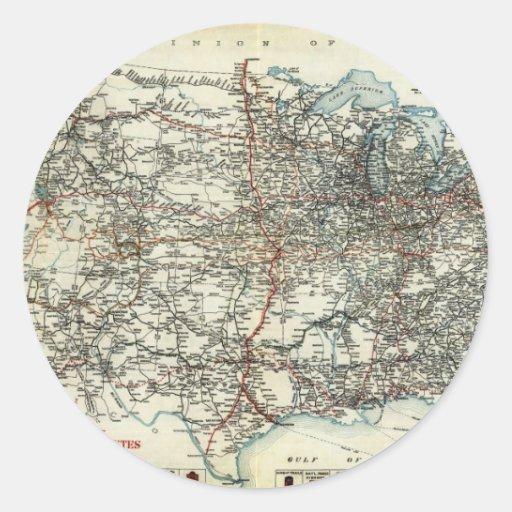 Mapa del AAA de las rutas transcontinentales Pegatina Redonda