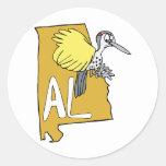 Mapa del AL de Alabama y dibujo animado de la Etiquetas Redondas