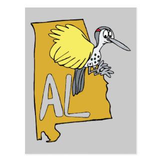 Mapa del AL de Alabama y dibujo animado de la Postal