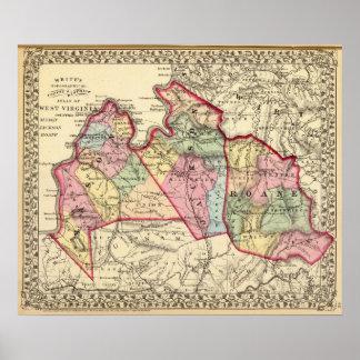 Mapa del albañil, Jackson, condados de Roane Póster