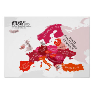 Mapa del amor de Europa Póster