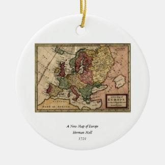 Mapa del anticuario 1721 de Europa del Moll de Adorno Navideño Redondo De Cerámica