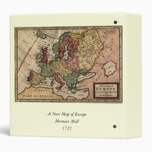 """Mapa del anticuario 1721 de Europa del Moll de Carpeta 1 1/2"""""""
