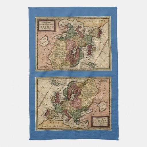 Mapa del anticuario 1721 de Europa del Moll de Her Toalla De Cocina