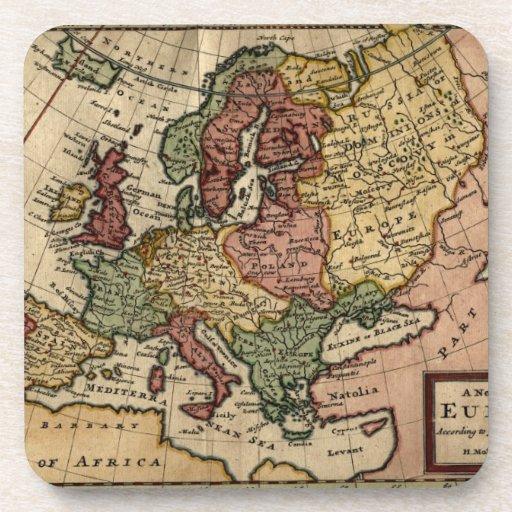 Mapa del anticuario 1721 de Europa del Moll de Her Posavasos De Bebida