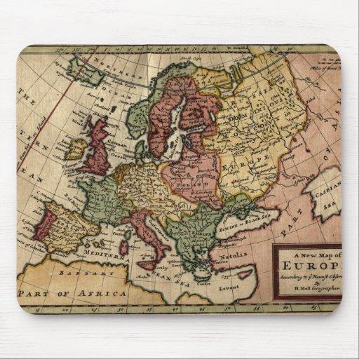 Mapa del anticuario 1721 de Europa del Moll de Her Alfombrillas De Ratón