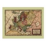 Mapa del anticuario 1721 de Europa del Moll de Her Tarjetas Postales