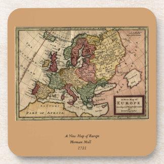 Mapa del anticuario 1721 de Europa del Moll de Posavasos De Bebida