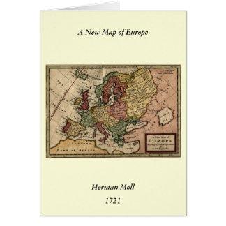 Mapa del anticuario 1721 de Europa del Moll de Tarjeta De Felicitación