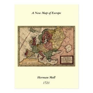 Mapa del anticuario 1721 de Europa del Moll de Postales