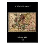 Mapa del anticuario 1721 de Europa del Moll de Postal