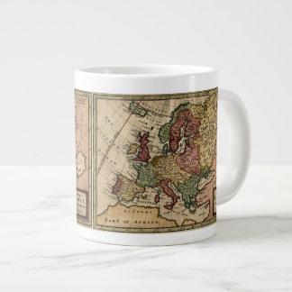 Mapa del anticuario 1721 de Europa del Moll de Taza De Café Grande
