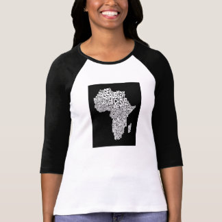 Mapa del arte del texto del mapa de África Poleras
