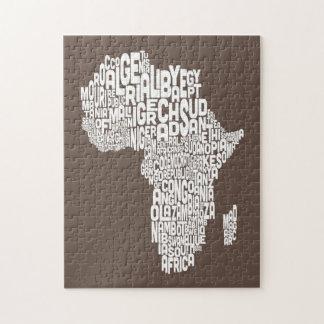 Mapa del arte del texto del mapa de África Puzzles