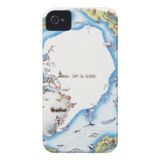 Mapa del ártico iPhone 4 Case-Mate carcasas