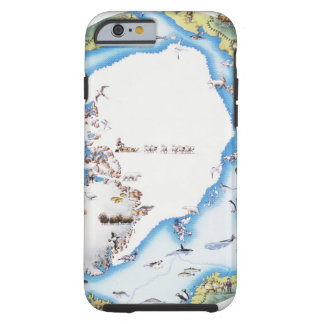 Mapa del ártico funda de iPhone 6 tough
