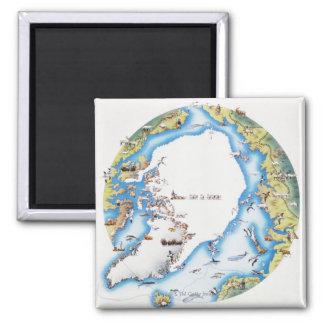 Mapa del ártico imán cuadrado