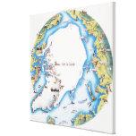 Mapa del ártico impresion en lona