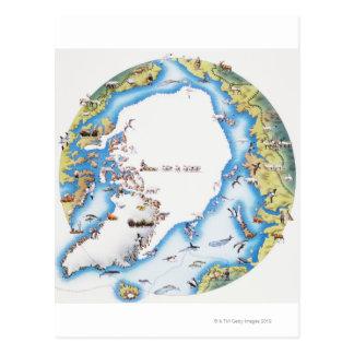 Mapa del ártico tarjeta postal