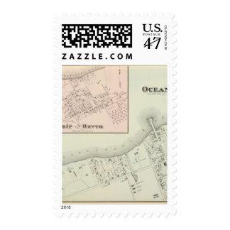 Mapa del asilo oceánico y justo, NJ Estampilla