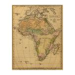 Mapa del atlas coloreado de la mano de África Impresiones En Madera