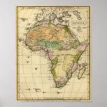 Mapa del atlas coloreado de la mano de África Posters