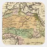 Mapa del atlas coloreado de la mano de África Pegatinas Cuadradases Personalizadas