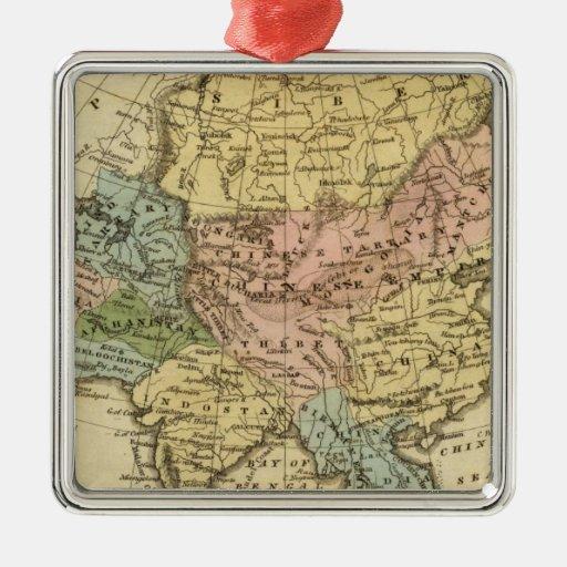 Mapa del atlas coloreado de la mano de Asia Adorno Navideño Cuadrado De Metal
