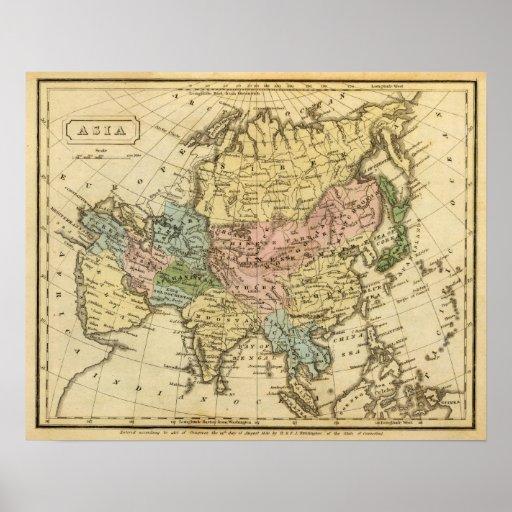 Mapa del atlas coloreado de la mano de Asia Posters