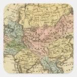 Mapa del atlas coloreado de la mano de Asia Calcomania Cuadrada Personalizada