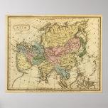 Mapa del atlas coloreado de la mano de Asia Póster