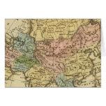 Mapa del atlas coloreado de la mano de Asia Tarjetas