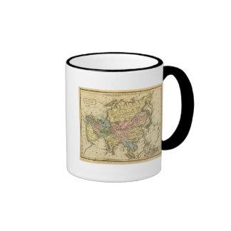 Mapa del atlas coloreado de la mano de Asia Tazas De Café