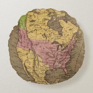 Mapa del atlas coloreado de la mano de cojín redondo