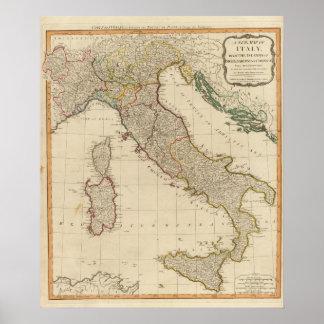 Mapa del atlas coloreado de la mano de Italia Póster