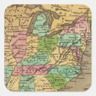 Mapa del atlas coloreado de la mano de los pegatinas cuadradases personalizadas