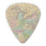 Mapa del atlas coloreado de la mano de los púa de guitarra acetal