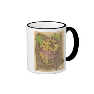 Mapa del atlas coloreado de la mano de Norteaméric Tazas De Café
