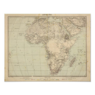 Mapa del atlas de África que muestra a colonias Poster