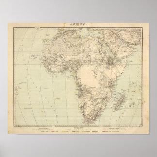 Mapa del atlas de África que muestra a colonias Póster