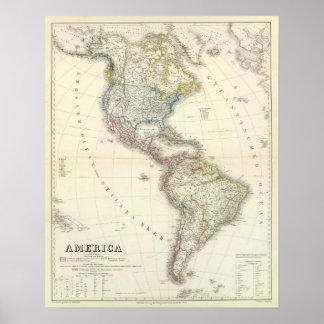 Mapa del atlas de América Posters