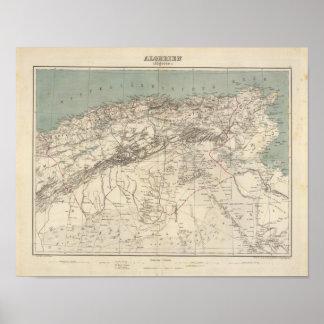 Mapa del atlas de Argelia Póster