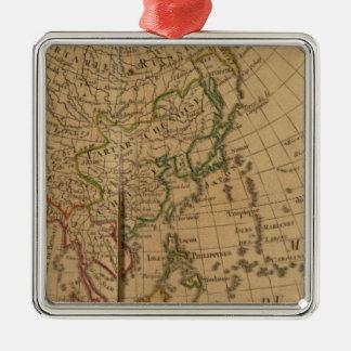 Mapa del atlas de Asia Adorno Navideño Cuadrado De Metal