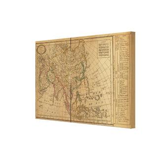 Mapa del atlas de Asia Impresión En Tela