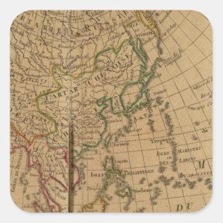 Mapa del atlas de Asia Pegatinas Cuadradas